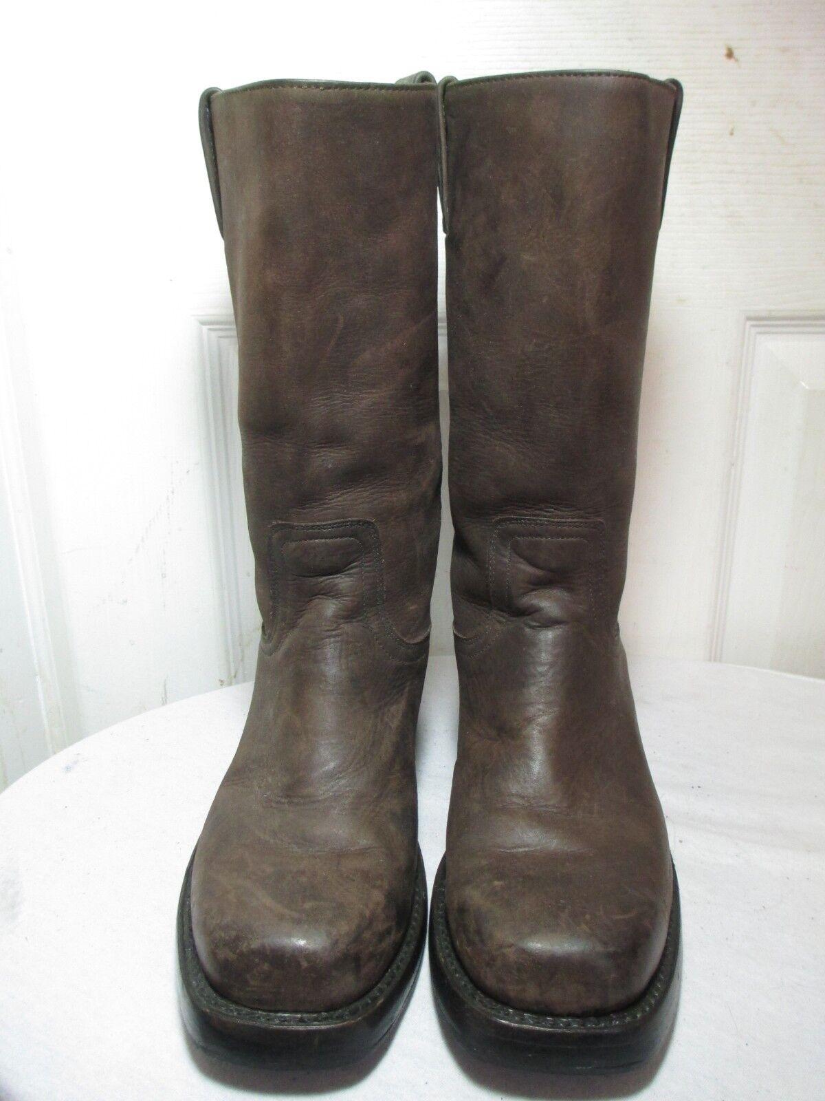 Mezcalero botas De Mujer Mujer Mujer De Dedo Del Pie Cuadrado Cuero Marrón Oscuro botas 38 US 8 cb997c
