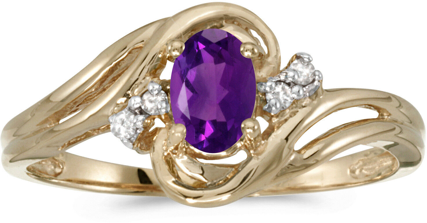 10k Yellow gold Oval Amethyst And Diamond Ring (CM-RM1219-02)