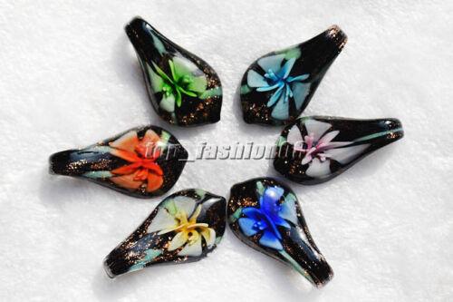 FREE Wholesale 12pcs Butterfly Leaf Flower Lampwork Glass Pendants DIY Necklace