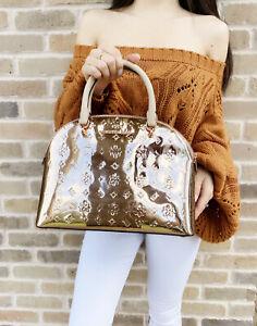 Michael Kors Emmy Large Dome Satchel Leather Handbag Crossbody Rose Gold