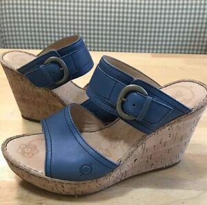 Born Blue Leather Sandals US Women's 10