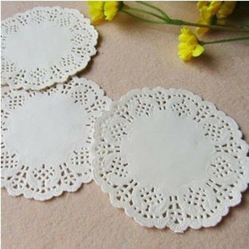 """3.5"""" inch White Round Paper Lace Doilies for CardMaking Scrapbooking Decorations"""