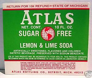 Atlas Bottling Club Soda Old Label Detroit Michigan