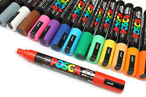 UNI-POSCA-MARKER-PC-5M-PAINT-PEN-BULLET-TIP-2-5mm-GLASS-CHALK-NON-TOXIC-COLOURED