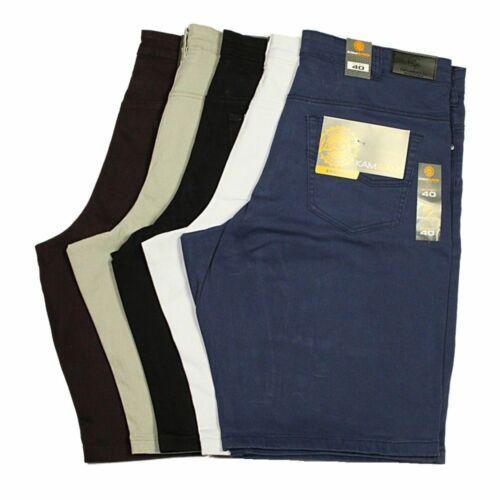 Hommes Big Taille King KAM Stretch Shorts En Noir Blanc Bleu Marine Bordeaux couleurs 40-70