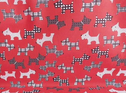 Polycotton Fabric NEW Crafts Pet DOG RED SCOTTIE TERRIER  Metre Material