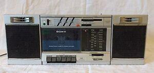 Vintage 80s SONY CFS-3000 AM/FM Stereo Cassette TranSound Jambox Boombox Blaster