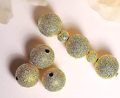 Metallperlen Metall Perlen 8 mm gold Glitzer 8x  von Bacatus  brushed beads