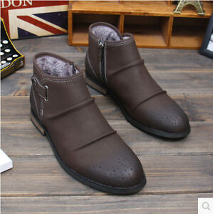 Winter Men Casual Leather Side Zip Snow Ankle Boots High Top Dress ...