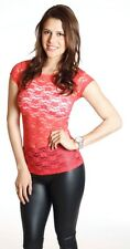 SEXY Delicate Basic Sheer LACE Floral SHORT Sleeve Stretch Casual Tee Shirt Top