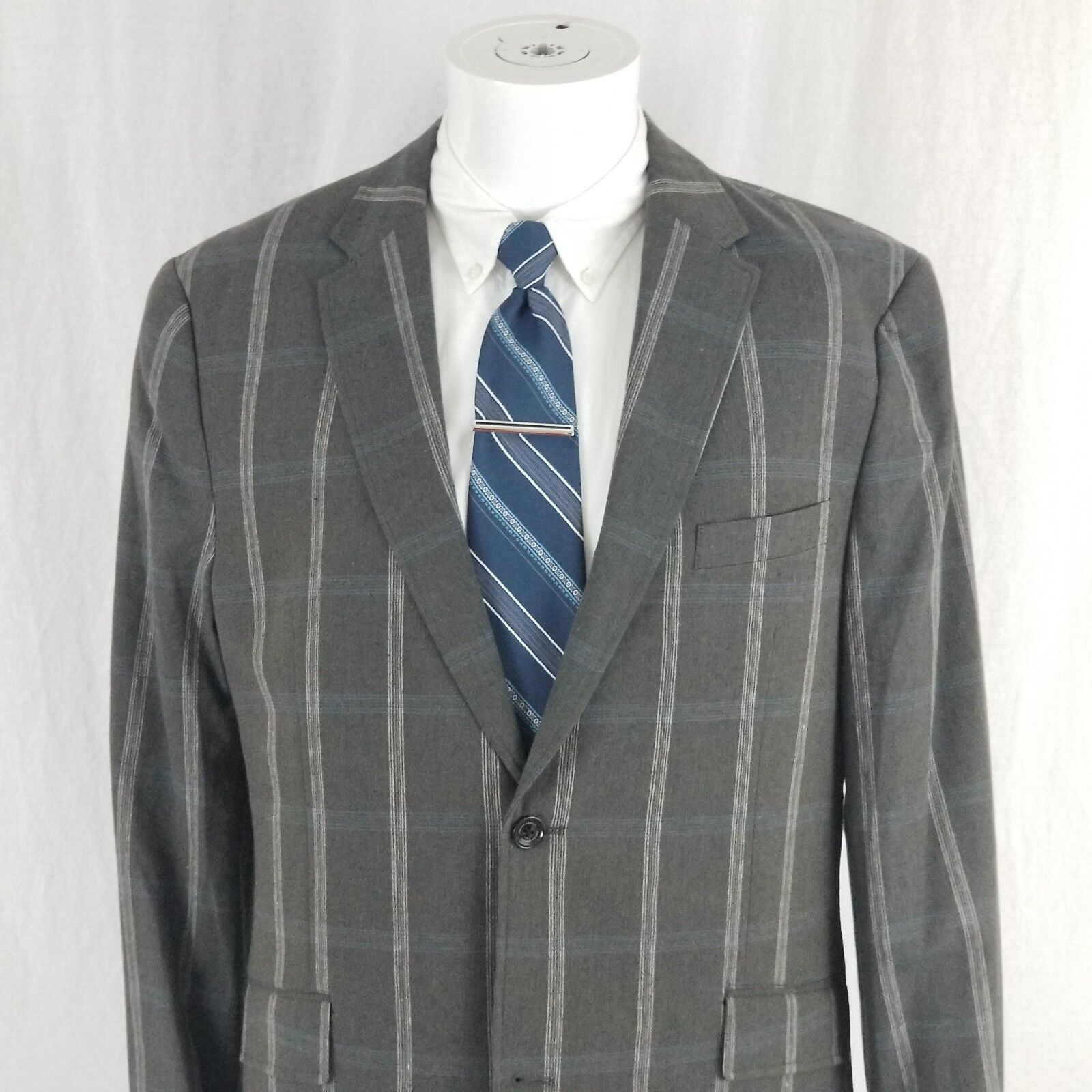 Joseph Abboud NWT MSRP 205 40L grau PLAID windowpane LINEN COTTON XLT tall f46