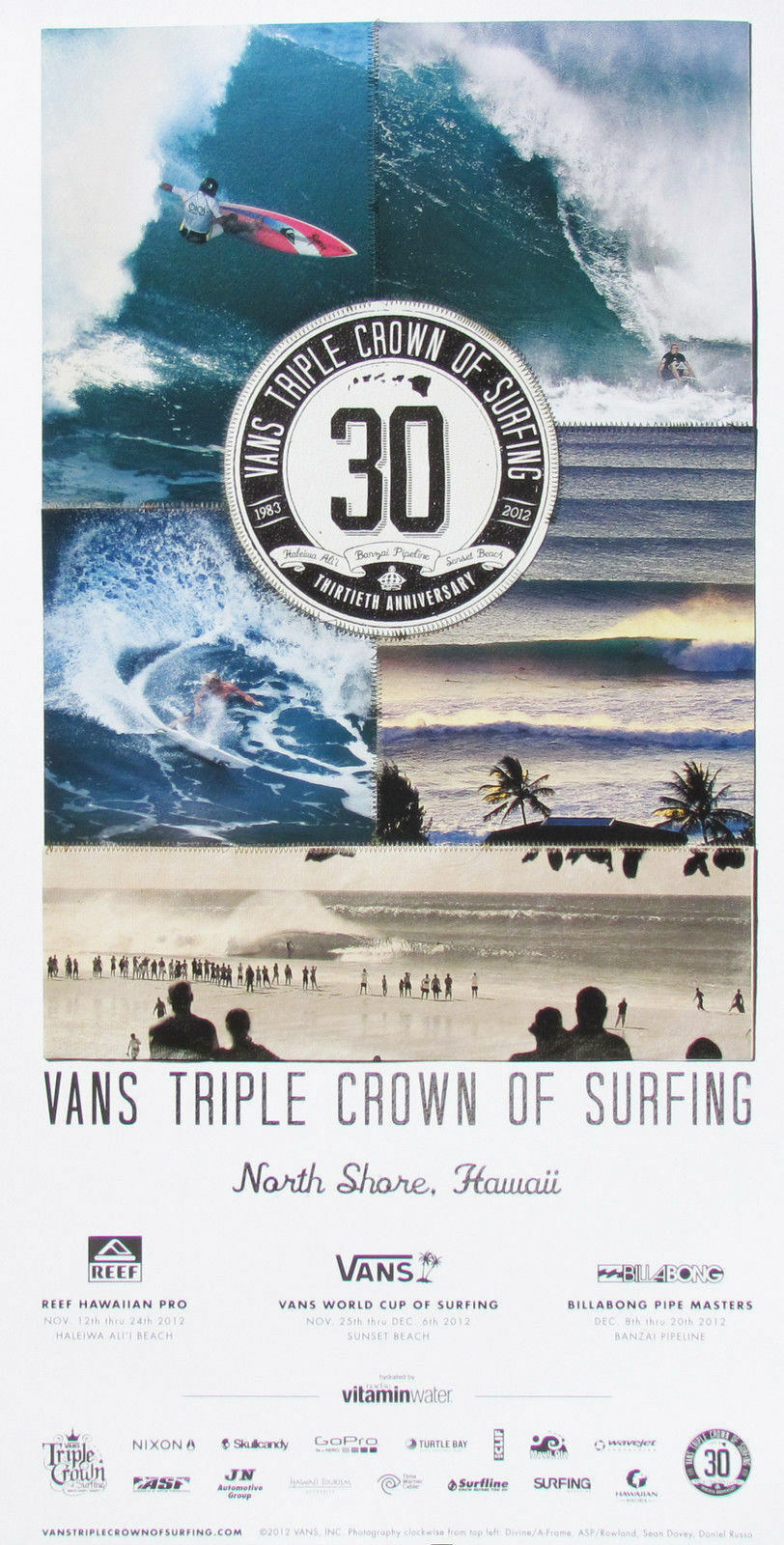Official 2012 30TH Anniversary Triple Crown Surfing Contest Hawaii Surf Poster