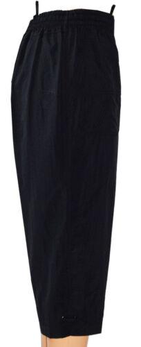 Damen 3//4 Lang Rundumgummi Luftig leicht Schlupfhose Caprihose in Schwarz Ql3D