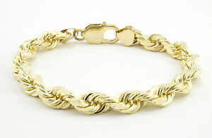 Real-10k-Yellow-Gold-7mm-Italy-Diamond-Cut-Rope-Chain-Bracelet-Lobster-Clasp-8-034