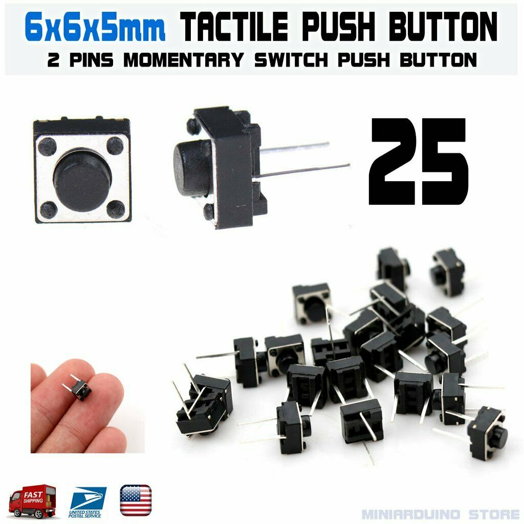 uxcell 6x6x4.3mm Panel Momentary 4-Pin PCB DIP Tactile Tact Push Button Switch 10PCS