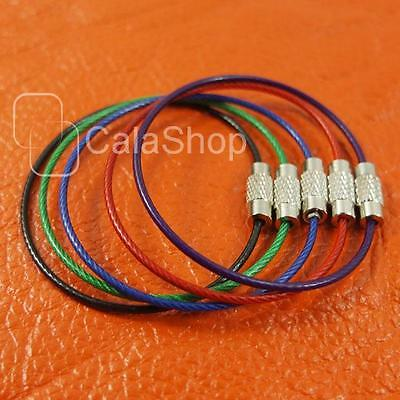 10 20 50 100 pcs Wire Keychain keys Aircraft Cable Stainless Steel RING I035