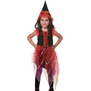 FLAME-WITCH-HALLOWEEN-DRESS-COSTUME-SET-2pc-Party-Supplies-Girl-Child-Kid