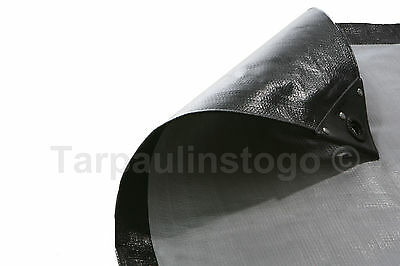 Waterproof Black Silver Heavy Duty Tarpaulin Cover Tarp 270GSM Ground Sheet