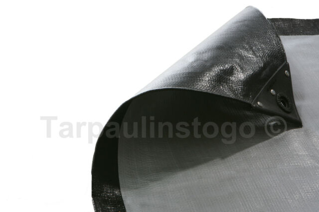 Waterproof Black Silver Heavy Duty Tarpaulin Cover Sheet 270GSM Ground Sheet