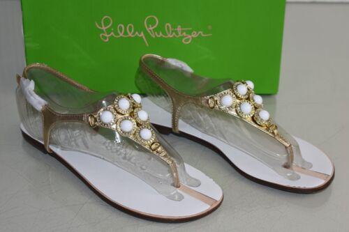 Perles Neuf Plage Or Cuir Sandales Pulitzer Club Cristaux Blanc Lilly Resort q007rwTI