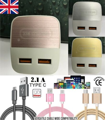 Mains Charger 2 USB Wall Plug Type-C Data Cable Compatible For Android Phones