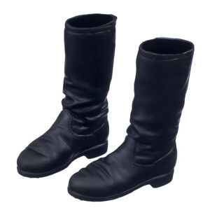 Black-1-6-Scale-Flat-Long-Boots-Fashion-Shoes-For-12-inch-Female-Figure-Body