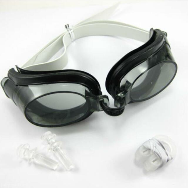 Black Swimming Goggles Set with Earplugs & Nose Clip Clear Goggles White Band