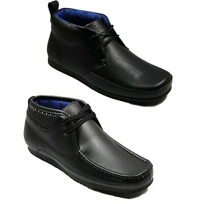 Nicholas Deakins Mens Causal trainers Black Leather Mid Shoes 2 lace Up Boot