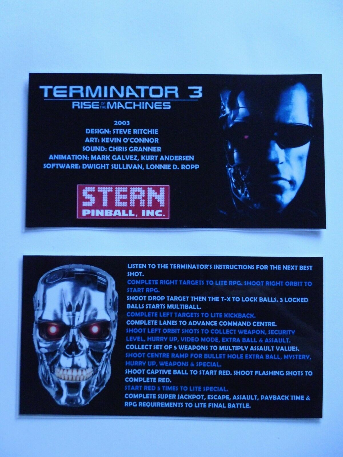 * * 'TERMINATOR 3' Stern 2003 Custom Instruction/Apron Cards * * (New)