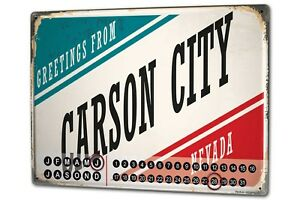 Calendario-perpetuo-Retro-Wall-Art-Metropole-Carson-City-USA-Metal-Imantado