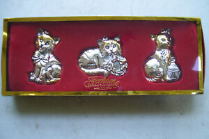 Gorham-Cat-Ornaments-Set-of-three-Silver-Plated-Mint-In-Original-package