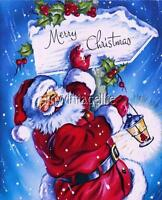 Vintage Santa Claus Merry Christmas Sign Quilting Fabric Block