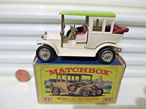 Lesney-Matchbox-MODELS-of-YESTERYEAR-Y3B-Cream-1910-BENZ-LIMO-CHARTREUSE-ROOF