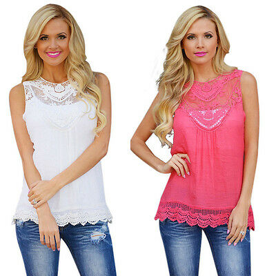 Women Summer Lace Vest Sleeveless Top Casual Blouse Solid Tank Tops Chic Shirt