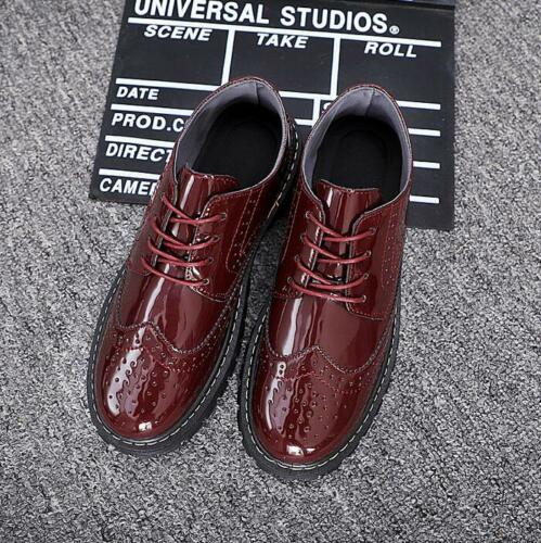 NEW Oxfords Men/'s Stylish Brogues Wing tips Lace up Block heel Platform Leisure