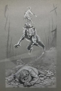 Signed 1989 Fantasy Fiction Mythical Creature Man Original Graphite Drawing Fine