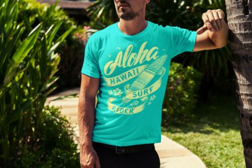 Aloha Hawaii Surf Rider Summer Beach Fashion Men T-shirt