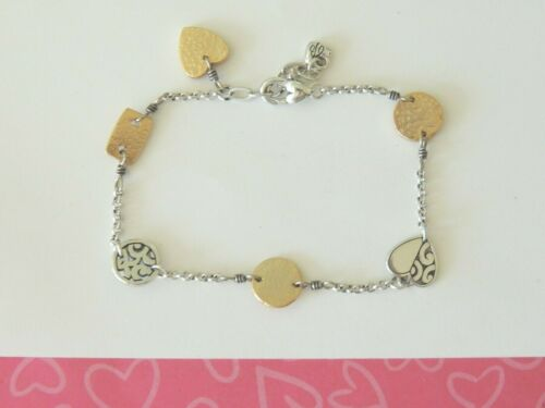 Brighton Deco Heart Two Tone Hammered Anklet