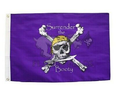 2x3 Jolly Roger Pirate Surrender The Booty Red Hat Premium Quality Flag 2/'x3/'