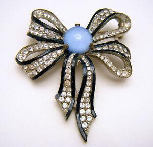 Art-Deco-Rhinestone-Enamel-Bow-Brooch-Pot-Metal-Satin-Glass-Cabochon