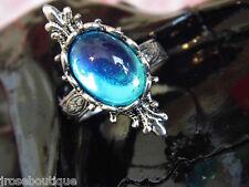 #JRK121 Mermaid Tear Frozen Sea Silver Adjustable Medieval Ring wedding topaz