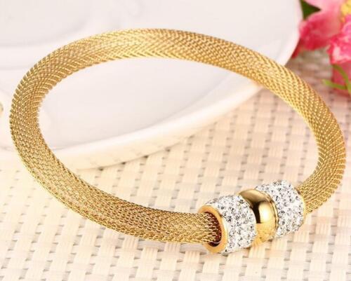 Or En Acier Inoxydable aimant fermoir cristaux Maille Chaîne Bracelet Femmes Bracelet