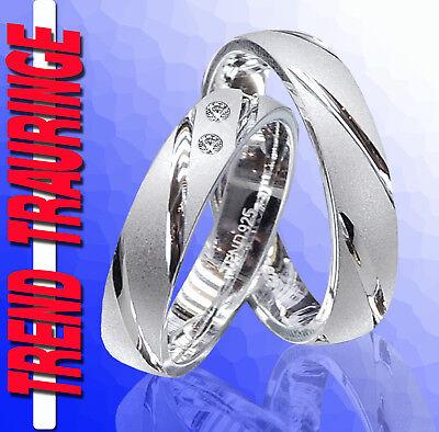 Edelsteine 2 Trauringe Verlobungsringe Ringe Silber & Gravur T39-2 Diversifiziert In Der Verpackung