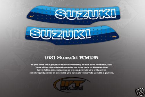 VINTAGE LIKE NOS SUZUKI 1981 RM125 FUEL TANK GRAPHICS