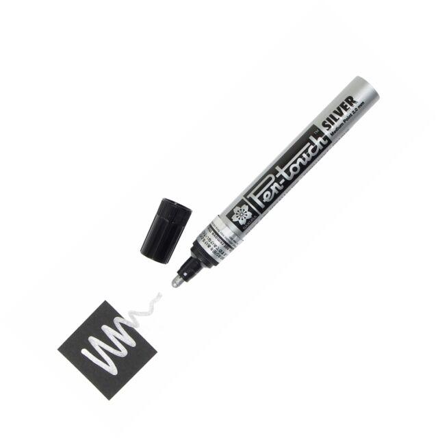 41502 Sakura Pen-Touch Paint Marker, Medium 2.0mm, Metallic Silver, Box of 12