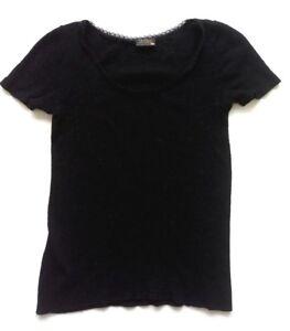 33d37c53 Pierre Robert Womens Knit T-Shirt Short Sleeve Top Sz M/L Black Wool ...