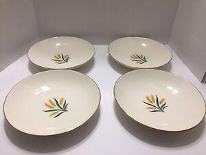 Vintage-Set-Of-4-Wheat-Inner-Design-Soup-Salad-Pasta-Bowls-Unbranded-Excellent