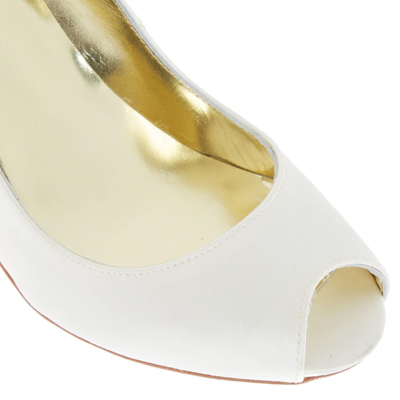 New FREYA ROSE Della Ivory Silk Weiß Weiß Weiß Satin Peep Toe Heels Evening Schuhes UK 2.5 564500