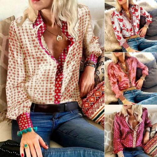 Women Printed Long Sleeve V-Neck Button Shirts T-Shirt Office Casual Blouse Tops