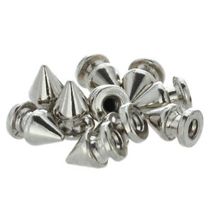 10x-Kupfer-8-12mm-Silber-Killernieten-Spitz-Nieten-Punk-Ziernieten-Schraubn-I1C4
